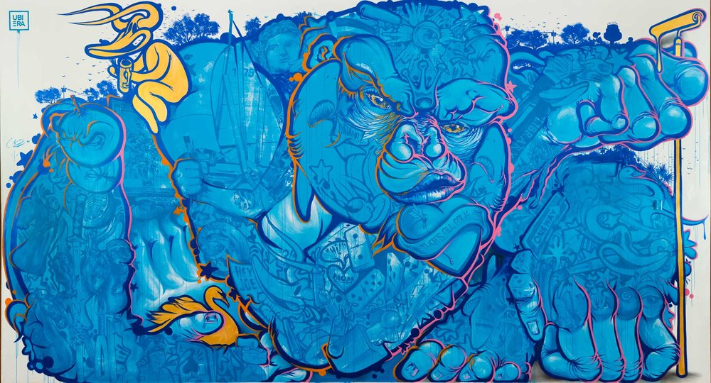 Ruben Ubiera,  Monkey Business , Painted mural, 16' x 24'.
