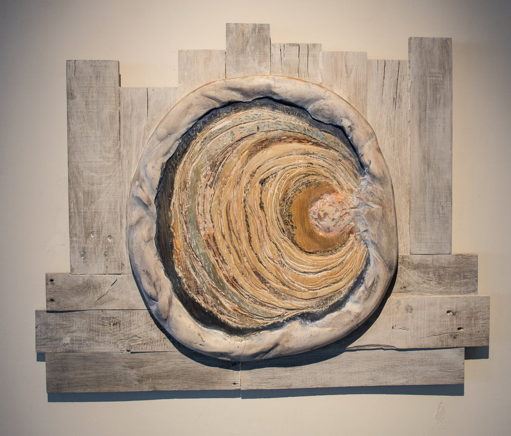 Rachel Stewart,  Source , n.d., Re-purposed pallet boards, carved and painted plywood and plaster © Rachel Stewart