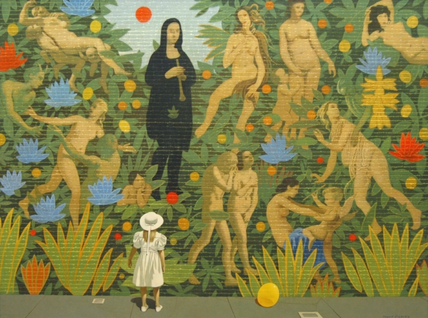 "Robert Vickrey,  Forbidden Fruit , 1995, Egg tempera on gesso on masonite, 36"" x 48"""