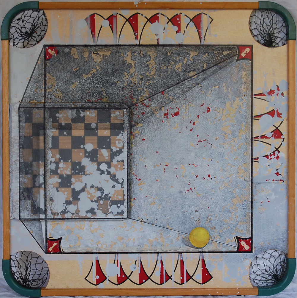 Michiko Fujii Fowler,Gaming the Frame, 2015, Mixed media, Museum Purchase through the General Acquisitions Fund, Polk Museum of Art Permanent Collection 2016.9 © Michiko Fujii Fowler