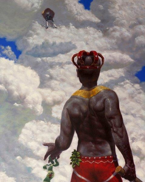 Reynier Llanes,  Alone for a Lucky Charm - Instruction for a Talisman , 2015, Oil on canvas, Gift of the artist, made possible by Harmon-Meek Gallery, FP.2017.13.1