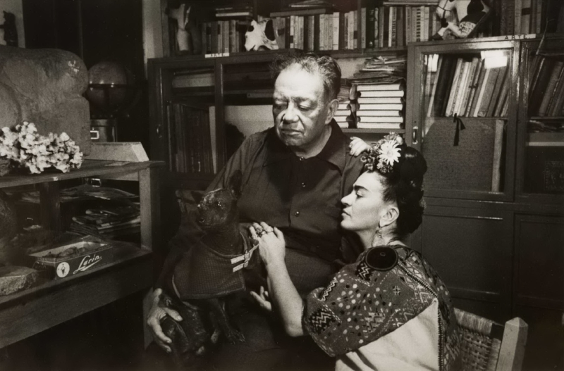 Marcel Sternberger, Frida Kahlo and Diego Rivera, 1952, Mexico City, Image date 1952, Print Date 2017, Silver gelatin print,Gift of Robert and Malena Puterbaugh in memory of Anne Tucker, recipient of the 2008 Harrison-Hooks Lifetime Achievement Award, Polk Museum of Art