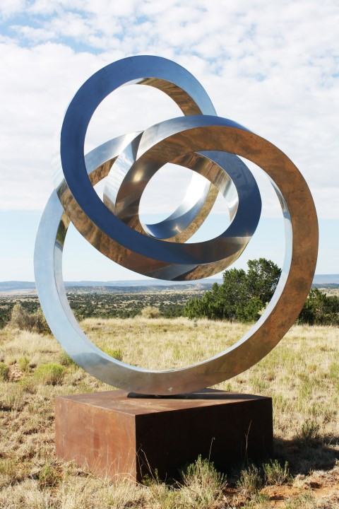 "Gino Miles, ""Forever,"" Stainless steel, 108x84 inches, Image courtesy of Long-Sharp Gallery."