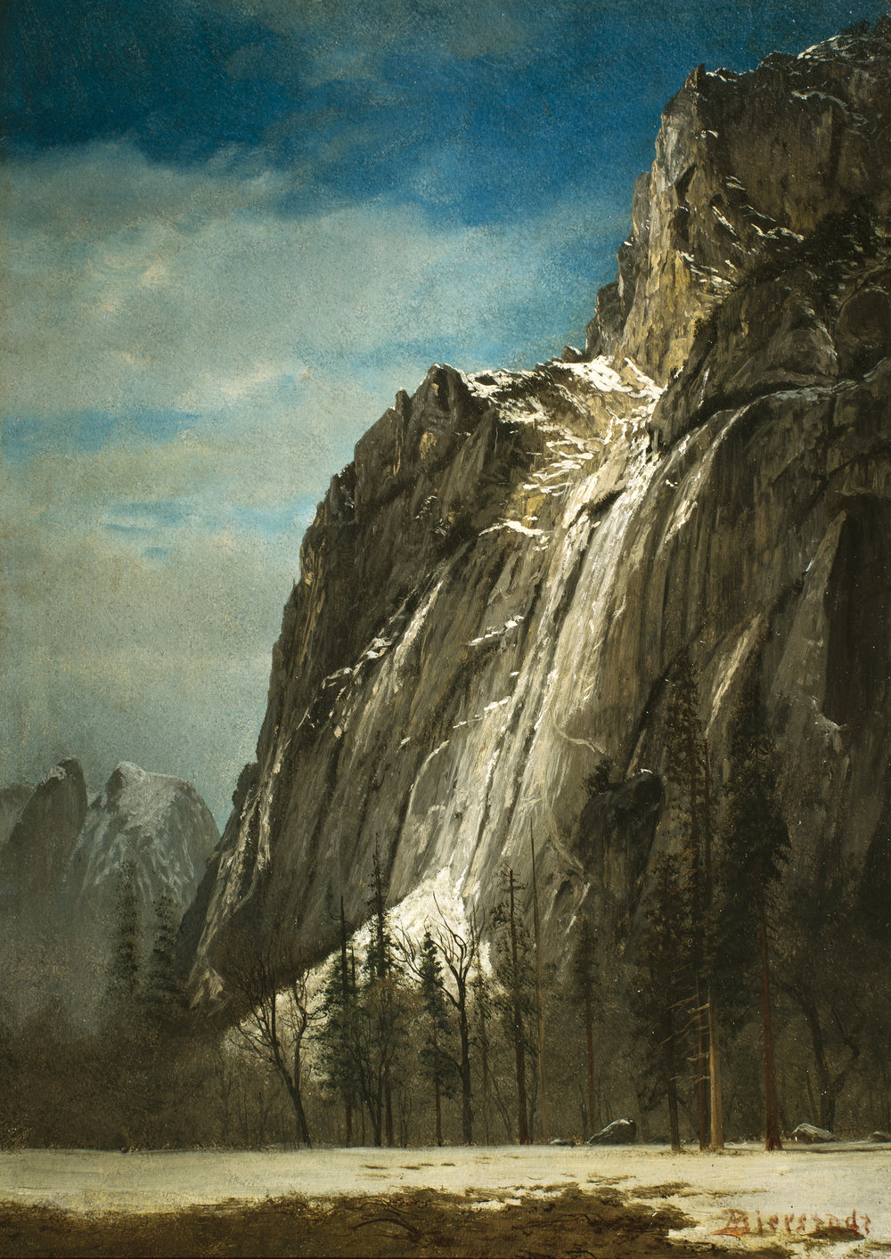 Albert Bierstadt (American, 1830–1902),  Cathedral Rocks, A View of Yosemite , ca. 1872, Oil on paper mounted on canvas, 19 x 13 ¾ inches, Image courtesy of the Gibbes Museum.