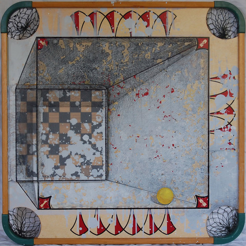 Michiko Fujii Fowler,  Gaming the Frame , 2015, Mixed Media, 28 x 28 inches, Courtesy of Michiko Fujii Fowler.