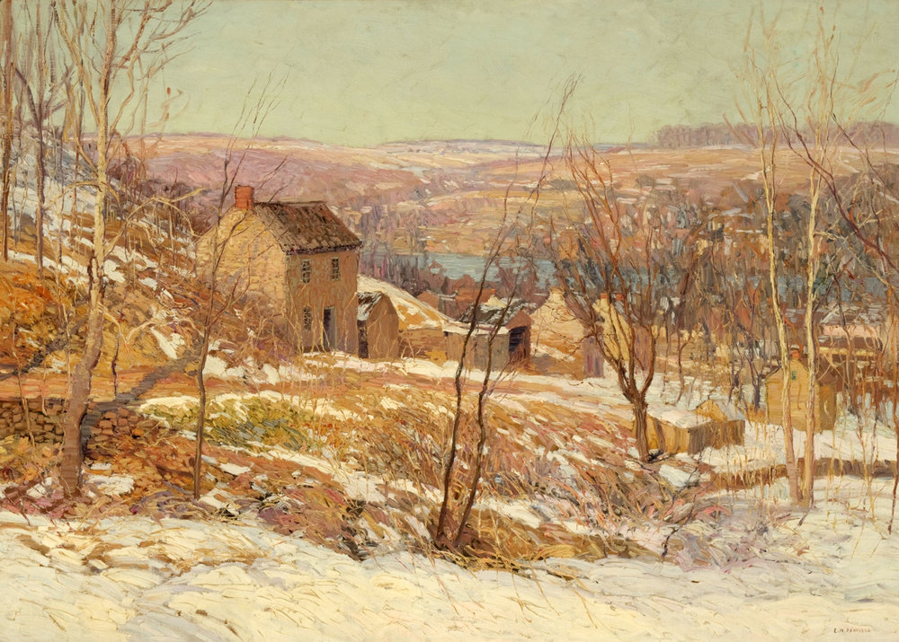 EDWARD WILLIS REDFIELD (AMERICAN, 1869-1965),  WINTER IN THE VALLEY , C. 1920S, OIL ON CANVAS, 36 X 50 INCHES, MUSEUM PURCHASE, READING PUBLIC MUSEUM, READING, PENNSYLVANIA.