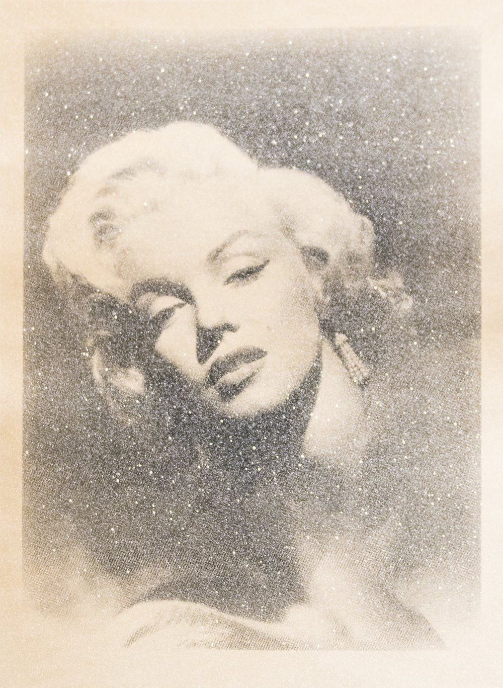 Russell Young, Marilyn Glamour, 2010, Screenprint Acrylic Paint and Diamond Dust on Linen, 37 x 29 inches.