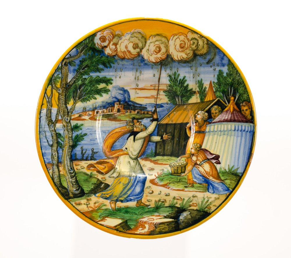 Plate depicting the Fall of Manna  16th Century, Urbino, Italy Majolica, Earthenware Gift of Dr. Jane Carver Holmes PMA Permanent Collection 1975.2.1