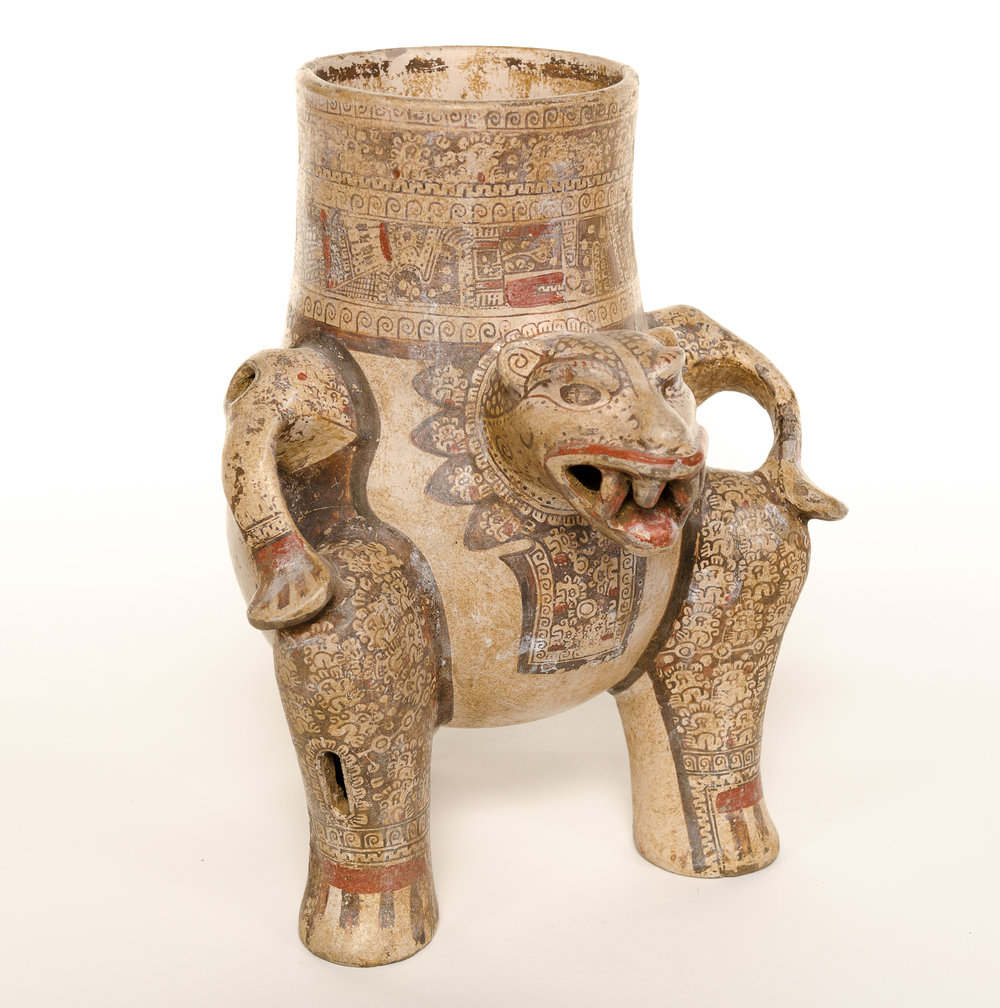 jaguar effigy vessel , costa rica, 800-1200 ce, gift of dr. & mrs. david taxdal, pma permanent collection 1983.1.2