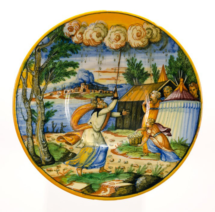 Plate depicting the fall of manna , 16th century, majolica, Gift of DR. Jane Carver Holmes, PMA Permanent collection 1975.2.1