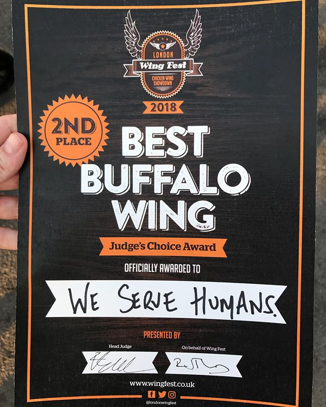 2nd outta 30 in Judges Choice 'Best Buffalo Wing' ain't bad! Congrats to @wingmanschicken for their 2018 Champion entry. Thanks to the judges @djbbq @drsweetsmoke @eddscicluna @londonwingfest for their exquisite taste. And to the guys at @randyswingbar for inviting us to compete in the UK's Number 1 Wing Event! #onewingtorulethemall