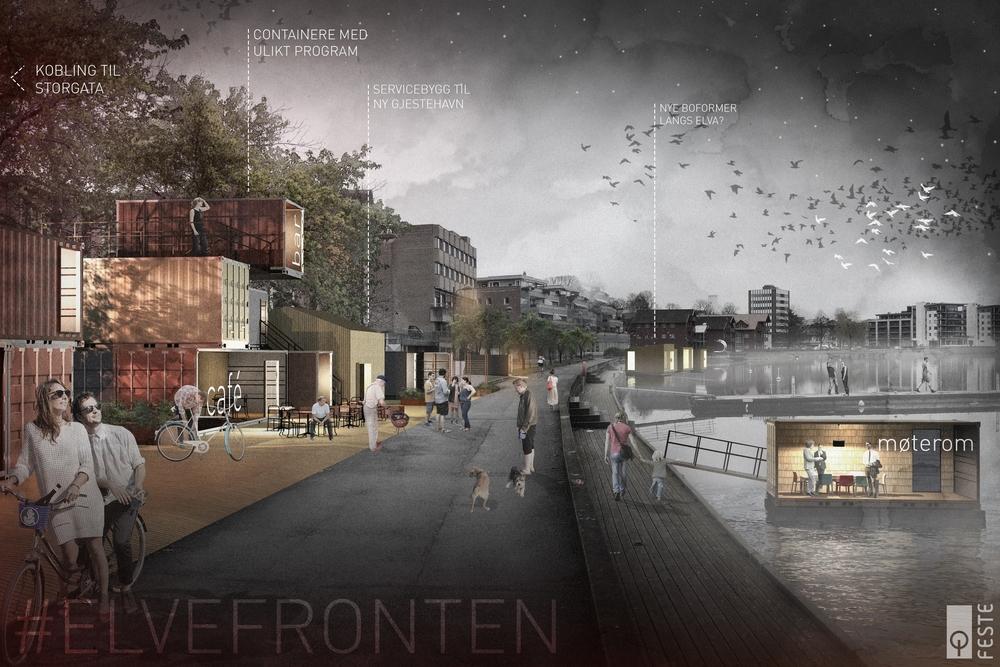 Illustrasjon av idé for ny Elvefront i Porsgrunn.