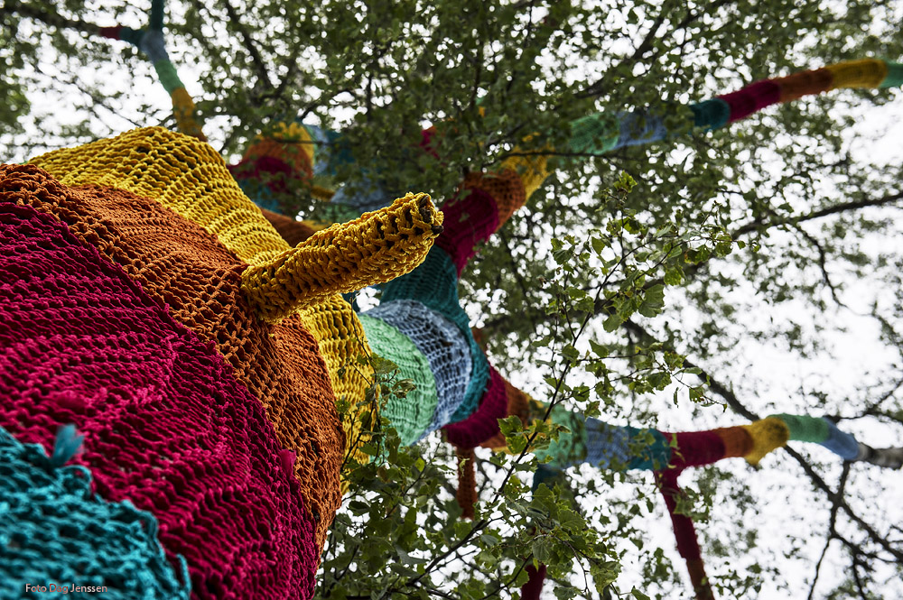 Carol Hummel's crochet trees. Photo: Dag Jensen