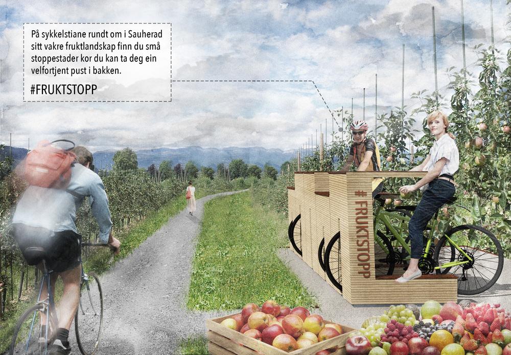 Idéskisse for ny bruk av fruktlandskapet, Sauherad.