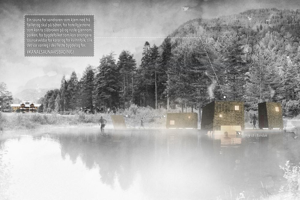 Idéskisse, sauna med Dalen Hotel
