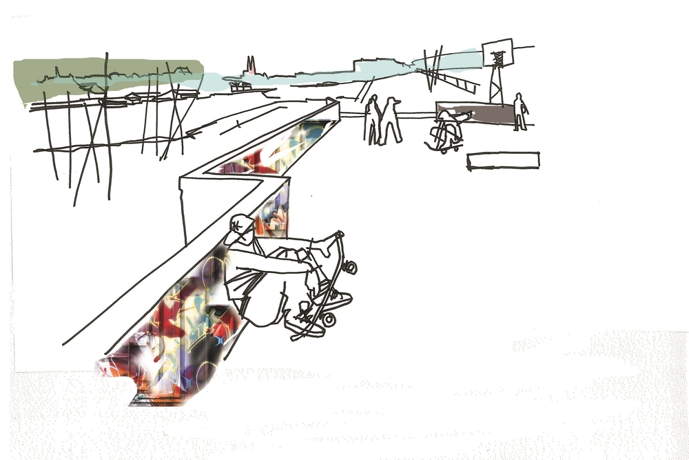 Idéskisse: Skatepark med utsikt mot to tårn i Skien
