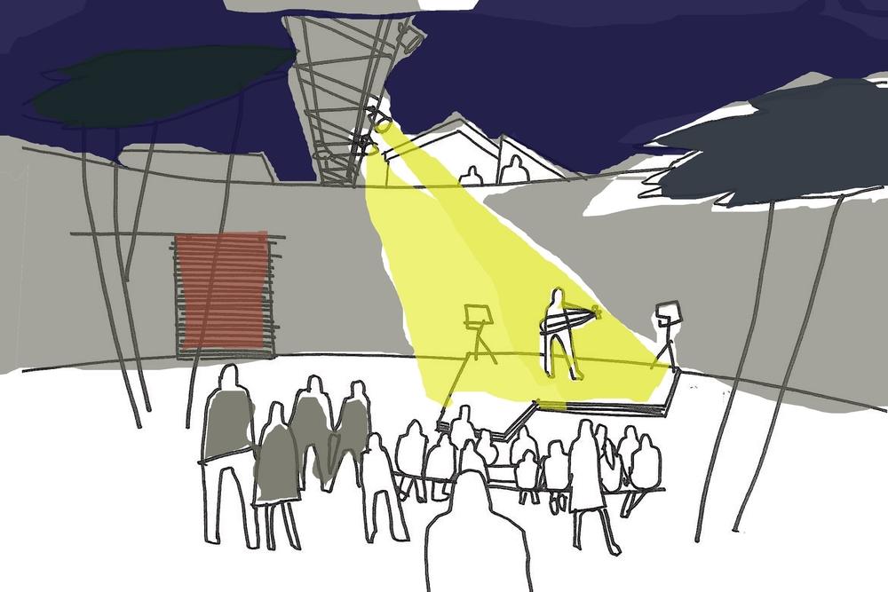 Idéskisse: Konsertarena i sedimentbassenget