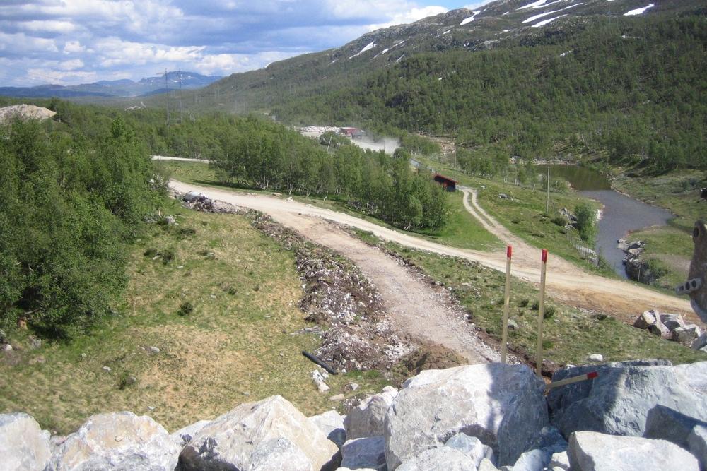 Dam Bitdalen - dei vegetasjonskledte kollane heilt inn mot damfoten er tatt vare på. Anleggsvegane er innpassa mellom desse, delvis i gamle anleggsvegtraséar