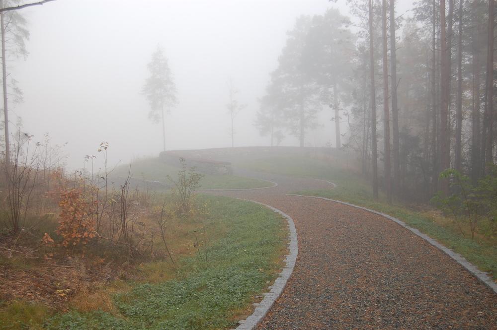 Gangveger og flater er innpasset i skogen