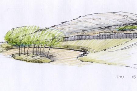 Frå Trolldalen - Skisse som syner prinsipp for terregforming i steinuttak og innpassing av flate for parkering