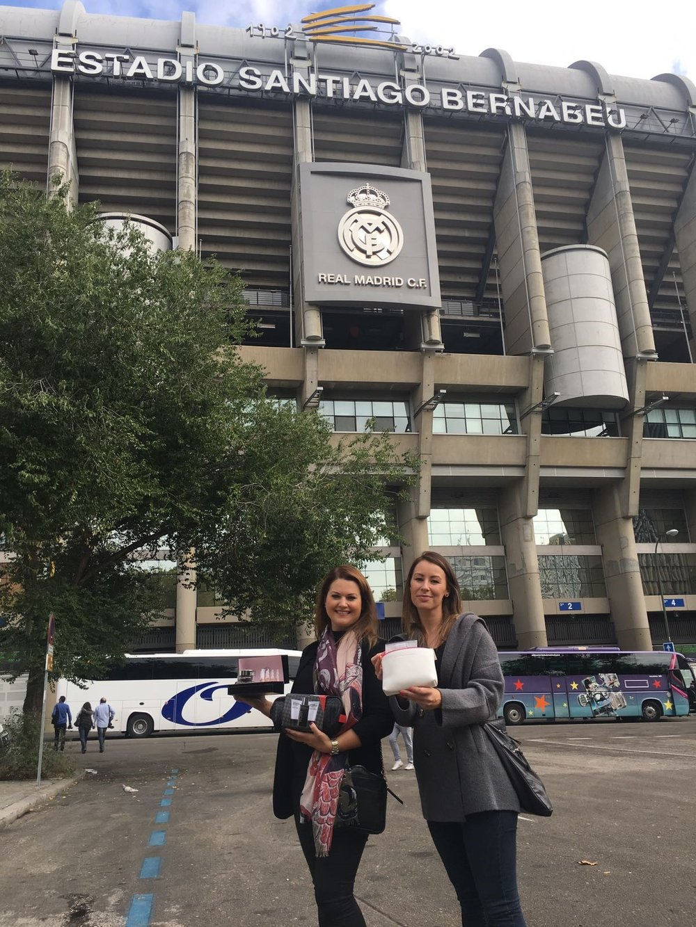 Sarah & Lucie brought Germaine de Capuccini Skincare Gift Sets to Real Madrid's ground!