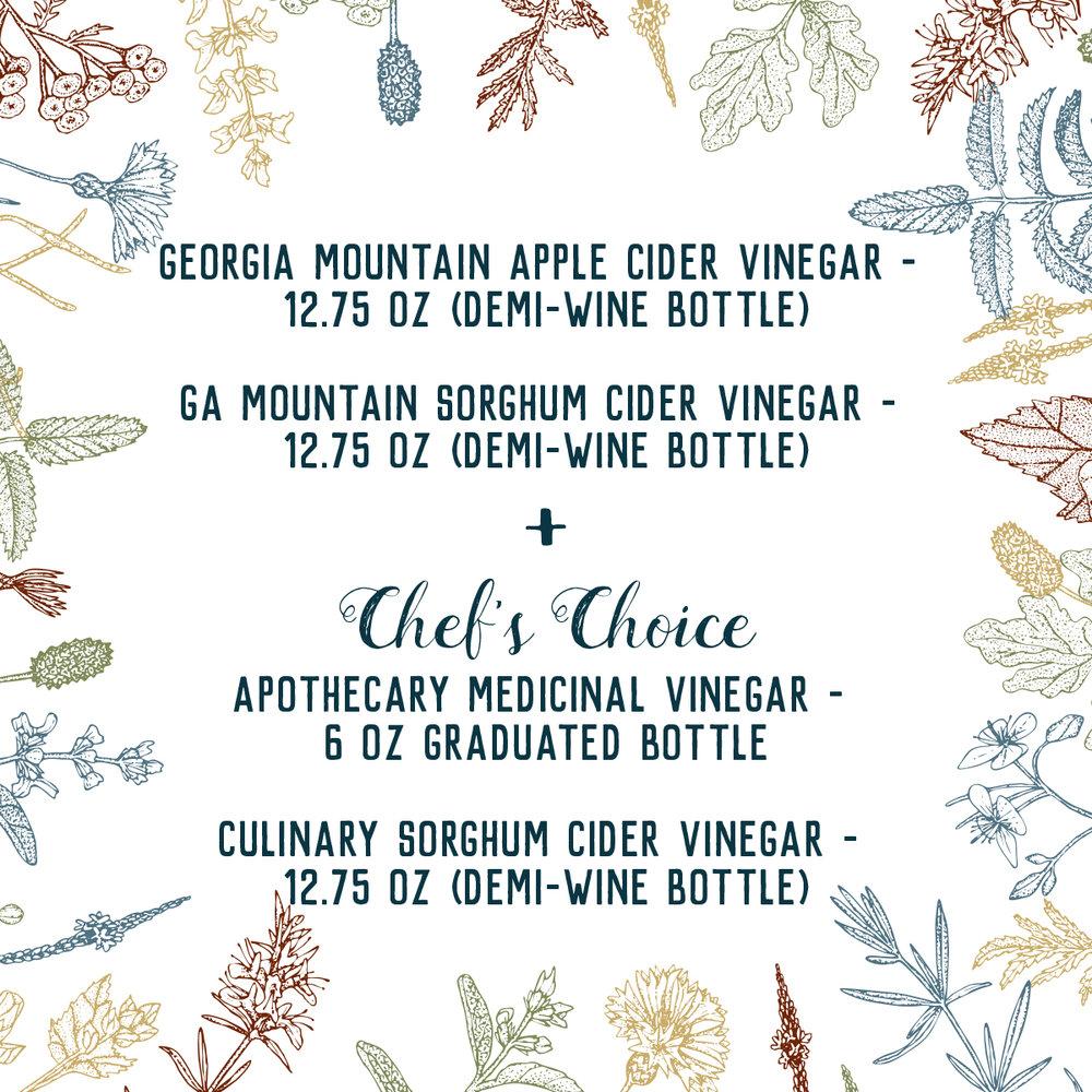 Culinary Flavors Including:   Bourbon Peach,  GA Blueberry,  Lemongrass,  Lemon Habanero,  Hibiscus Spice,  Aniso