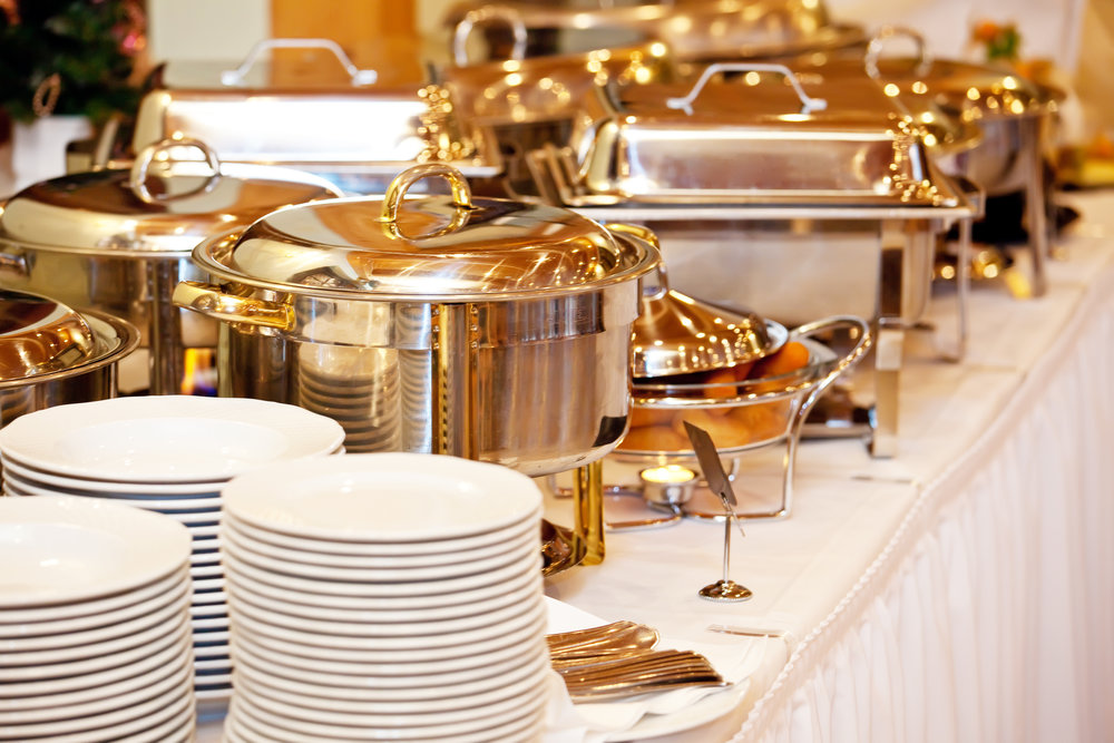 WEDDING PACKAGE - Our wedding package comes with your catered menu items, decorative table linens, serving dishes, flower arrangements, plates, silverware and cloth napkins with menu placeholders.