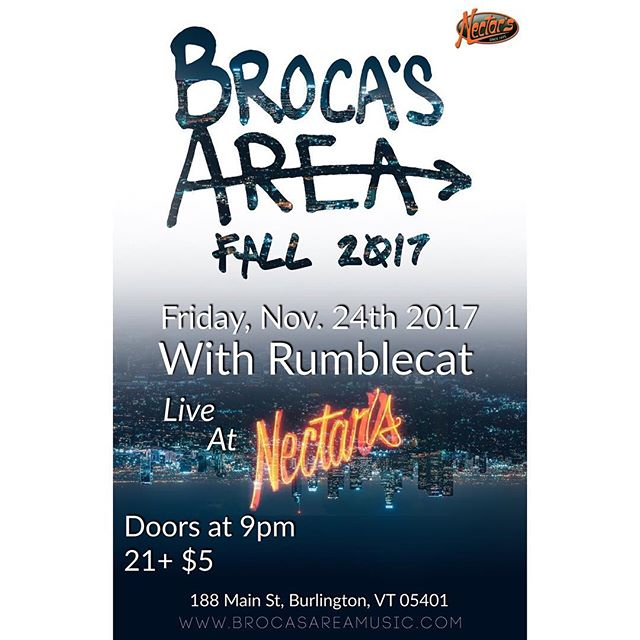 📌BURLINGTON VT 📌 11.24 at @nectarsvt with @rumblecatvt 🍂🍻 #seethelight #brocasarea