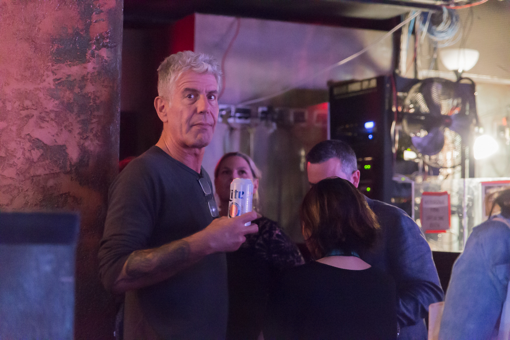 The second most interesting man in the world drinks Miller Lite. Anthony Bourdain judging a punk rock karaoke contest at the Vulcan Gas Lamp.