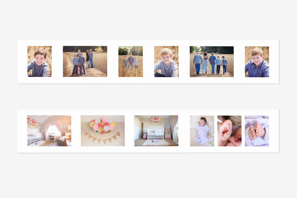 5 x 30 Panels - Can't pick just one image? Choose a layout that features a number of image nodes and change the background color and borders for a custom composite.Sized at 5