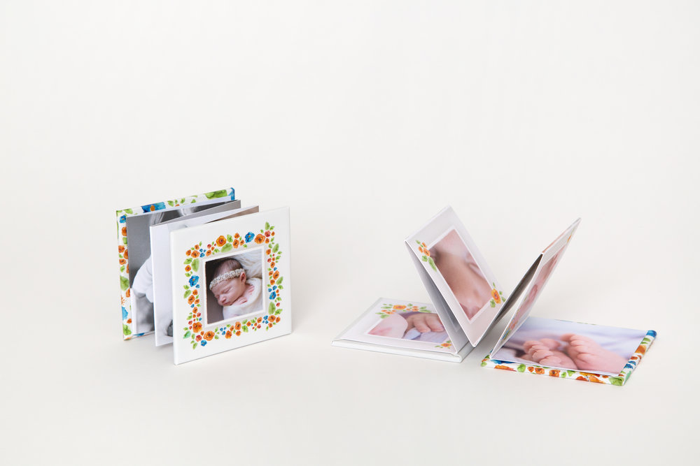 Accordian Minis (set of 3) - Tiny in size with a magnetic cover, Accordion Minis are great on-the-go, making it easy to show your favorite portraits to family and friends.Classic Felt, Premium Bamboo, Premium Cotton, 100% Recycled, Smooth, Linen, and Pearl press papers availableChoose from a variety of colorful and custom cover optionsStarting at $75 per set