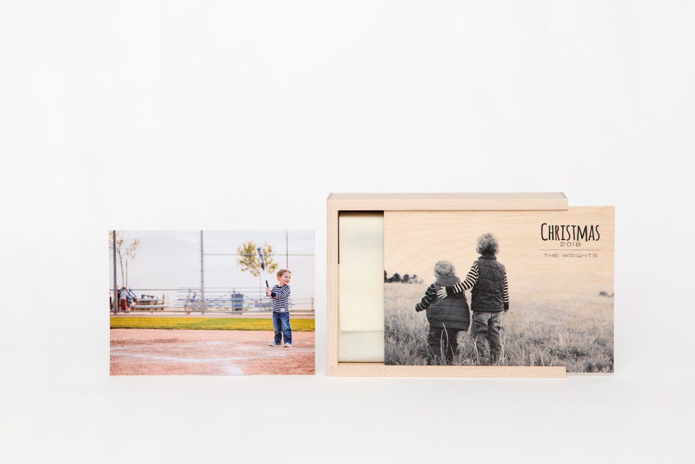 Wood Print Box - Handcrafted from premium wood to store your special memories.Offered in 4x6 and 5x7Imprint your image, logo, or design on the lidStarting at $60 (prints sold separately)
