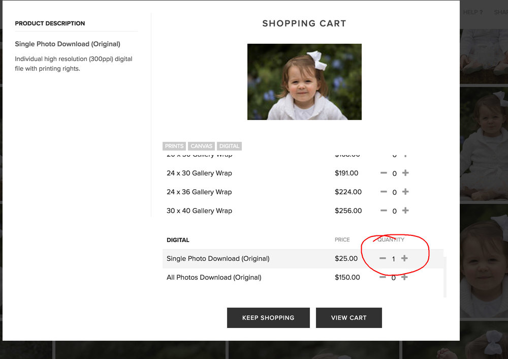 - Click on the 'Digital' bar or scroll down to the bottom of the page. Change the quantity for 'Single Photo Download' to 1 and then click 'Keep Shopping'.