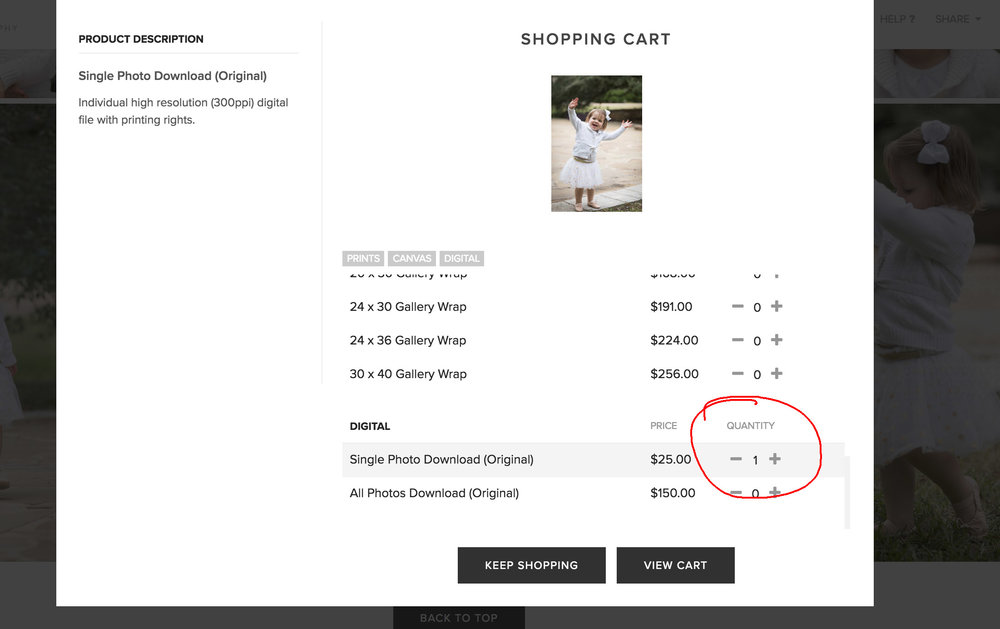 - Repeat the same process for your second image and then click 'View Cart'.