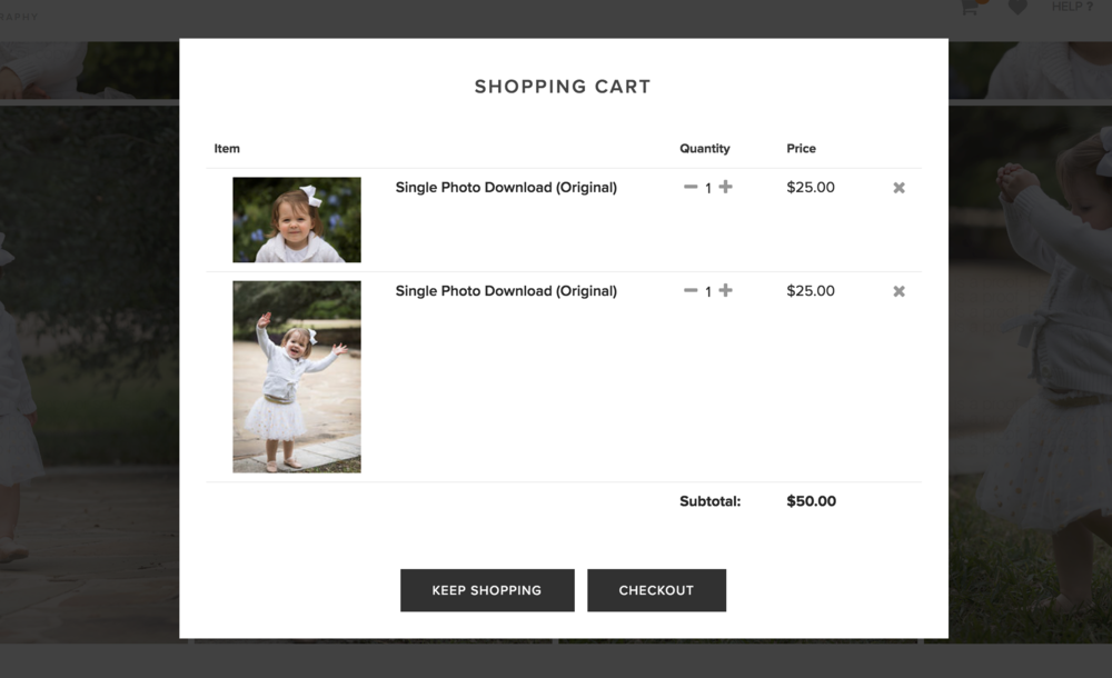 - You now have 2 images in your cart, with a total of $50.00. Click 'Checkout'.