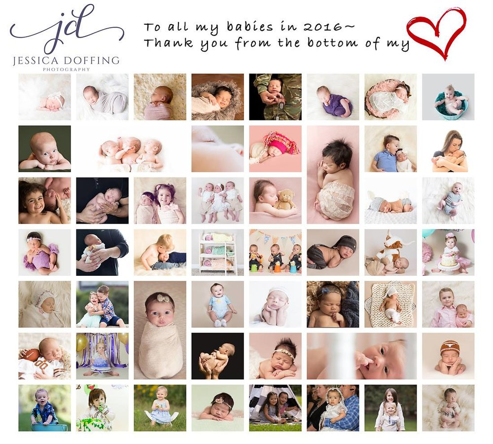 I didn't shoot enough newborns in 2016 to fill up the collage, so I included all of my older babies too :)