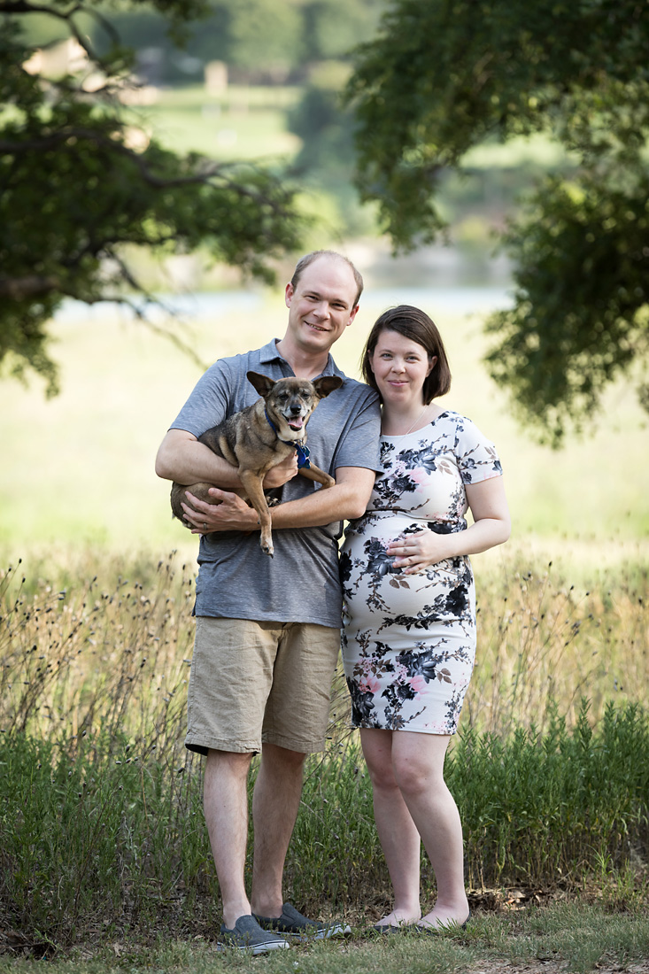 maternity couple with dog