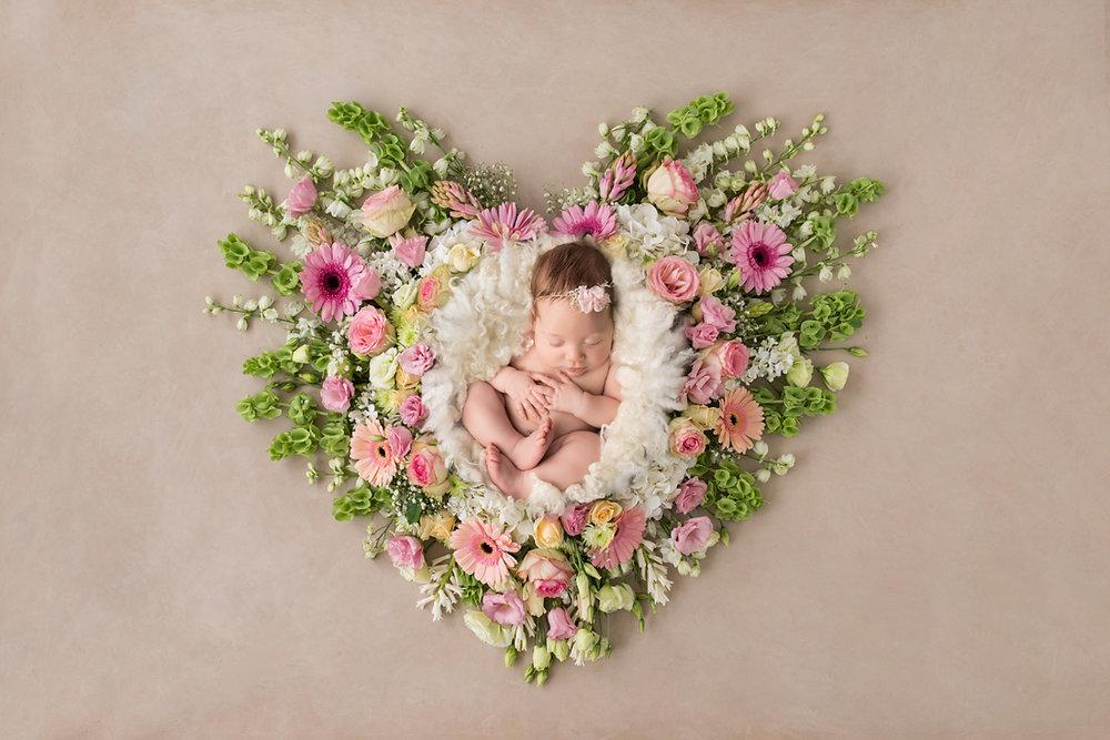 newborn flower heart composite