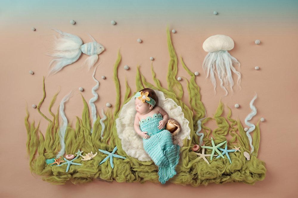 newborn mermaid ocean composite