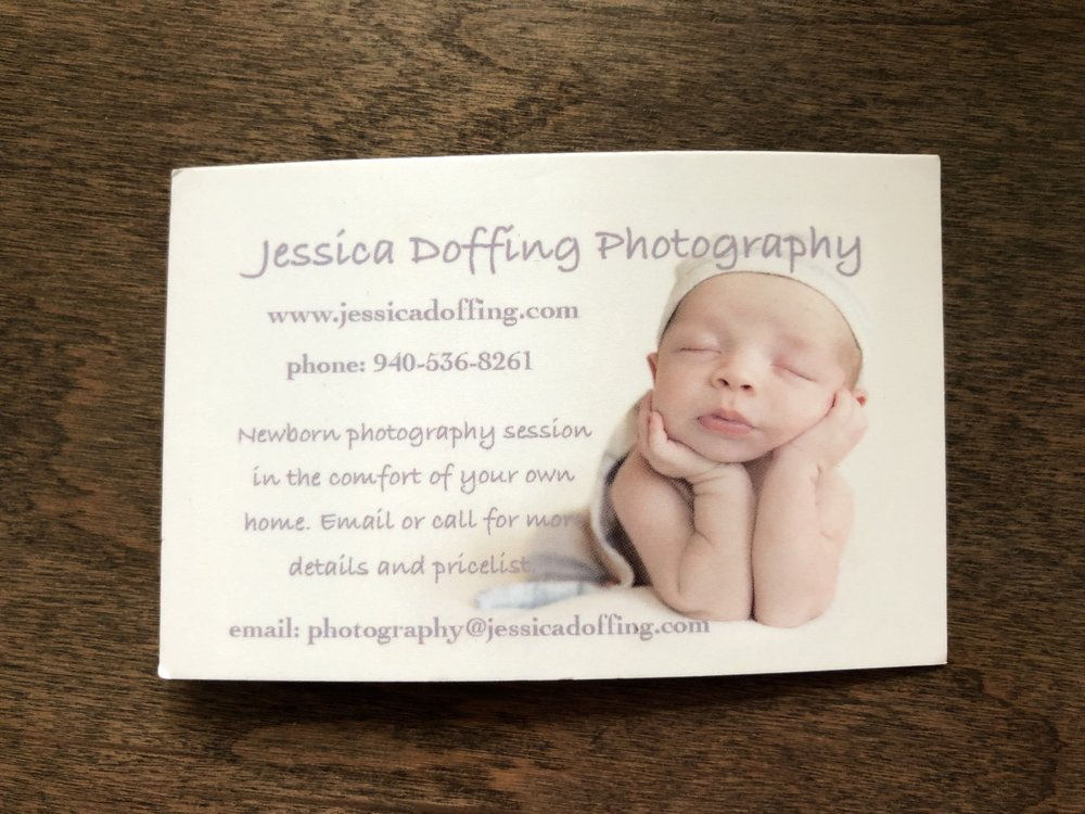 My first business card when I decided to specialize in newborn photography.