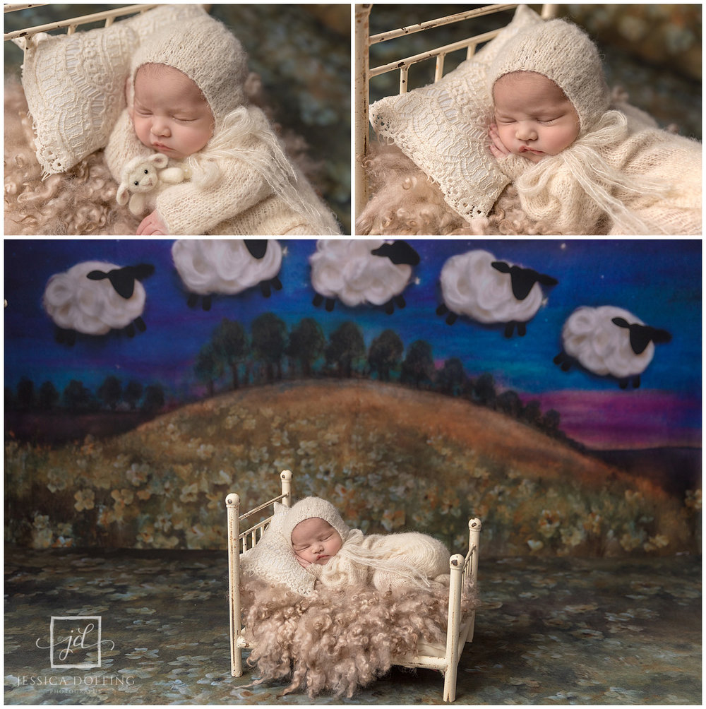 counting sheep newborn on bed