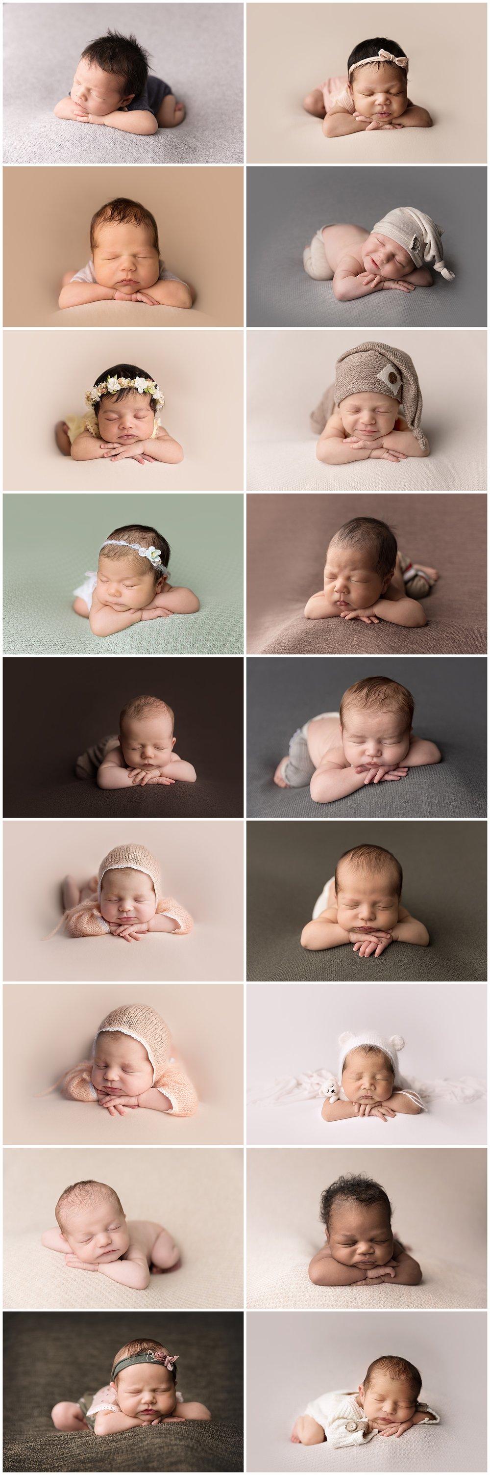 chin on hands newborn beanbag pose