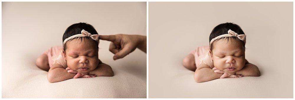 chin on hands safety newborn pose