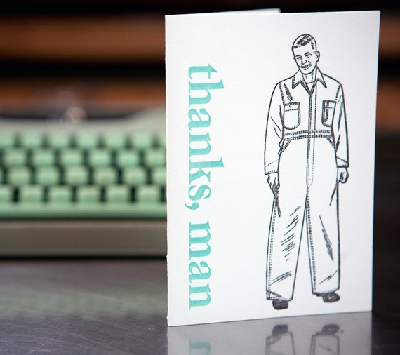 A letterpress card Kathryn and I designed together. Love this guy.