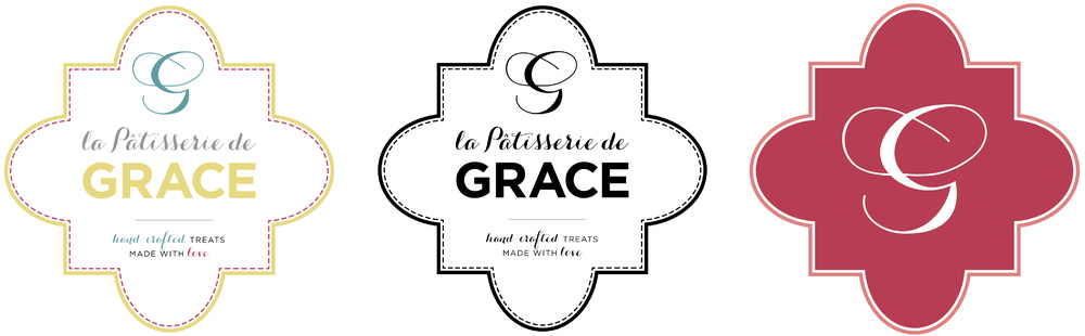 Logo versions for the rebranding of La Patisserie de Grace: color, B&W and monogram.