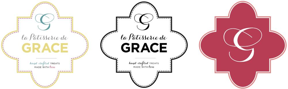 Logo versions for the rebranding of La Patisserie de Grace:color, B&W and monogram.