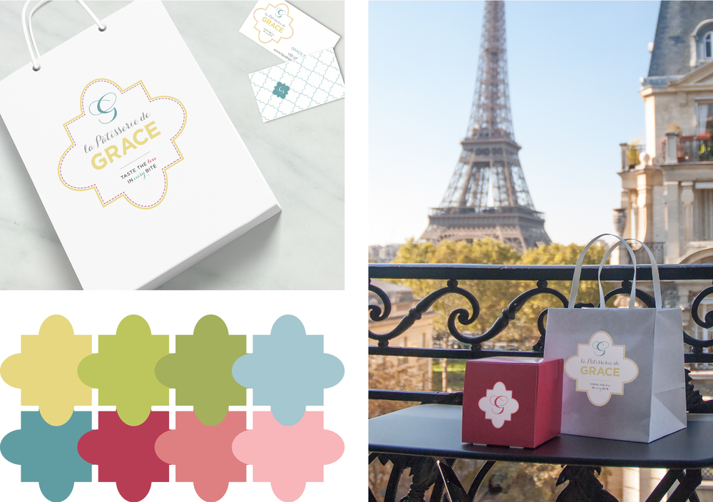 Branding implementation for La Patisserie de Grace: business card, packaging, gift bags, and patterns