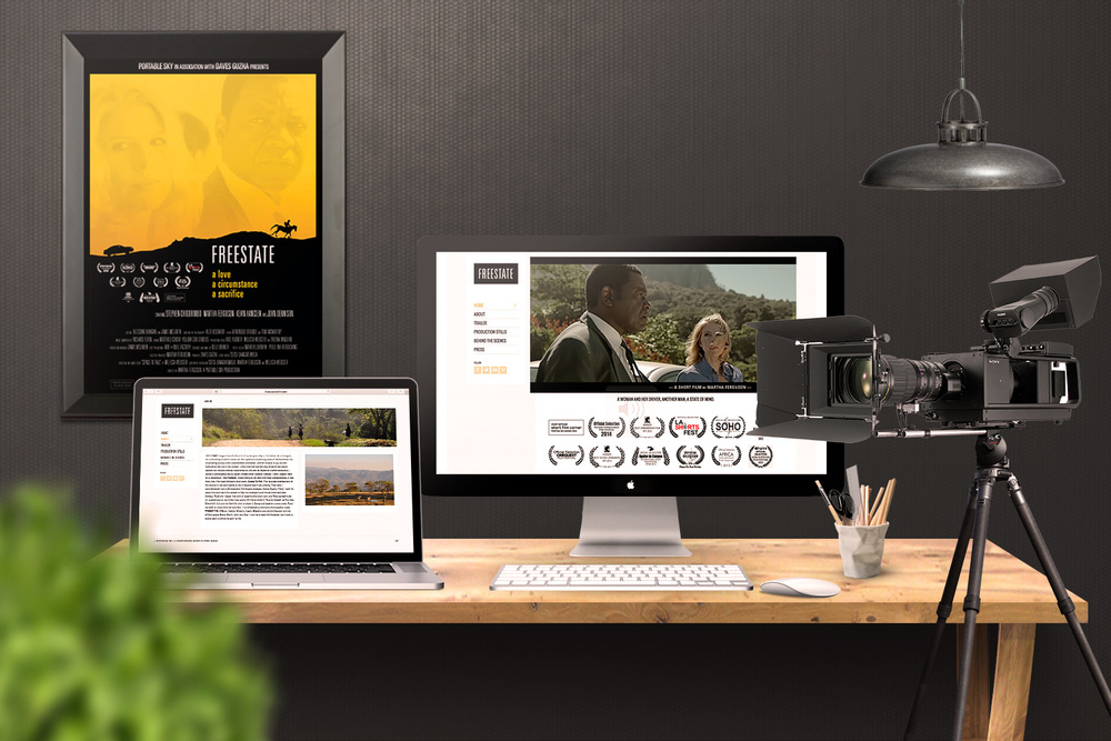 Mobile version of the w  ebsite for Freestate, a short film, essential for garnering attention from   the media, helping them to understand the film and winning   her multiple awards