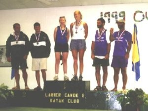 Pam Boteler in 2000 with C2 partner Heather McNie after winning gold at US Nationals (Men's class), the first time women were allowed to compete. Photo courtesty of Pam Boteler