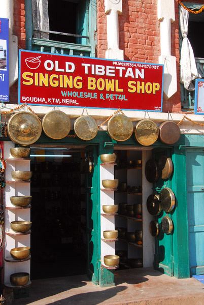Singing bowl shop in Nepal
